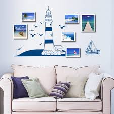 online get cheap boat wall stickers aliexpress com alibaba group diy baby wall stickers blue sailing boat and tower removable wall art decals home mural for