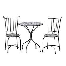 home locomotion black metal outdoor garden patio table and 2