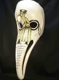 plague doctor s mask to protect from poisonous vapors associated with the plague the