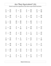 Equivalent Fractions Super Teacher Worksheets Are These Fractions Equivalent Multiplier Range 2 To 5 A Math