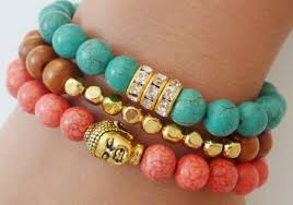 gemstone bead bracelet images Green chalk turquoise semiprecious gemstone beaded bracelet with jpg