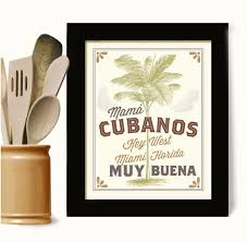 cuban art kitchen wall print cubanos key west florida decor