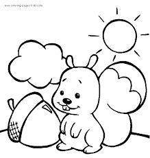 nut coloring page squirrel with a nut on a sunny day color page