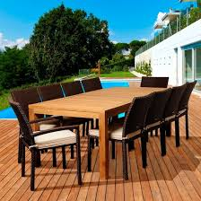 coral 11 piece teak wicker rectangular patio dining furniture set