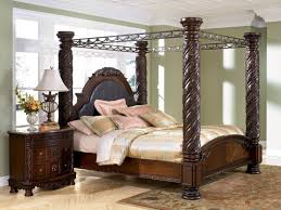 4 Post Bed Frame King Brown Wooden King Size Canopy Bed Frame With An Interesting Design