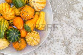 border of ornamental fall pumpkins or gourds arranged stock