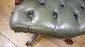 Leather Captains Chairs Green Leather U0026 Mahogany Captains Desk Chair Youtube