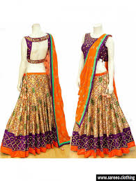 elevate deep violet u0026 orange bridal silk heavy cotton mirror work
