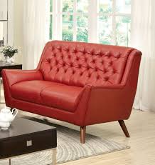 contemporary red bonded leather match button tufted love seat