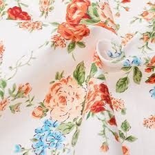 Large Floral Print Curtains Generic Printed Twill Cotton Fabric Patchwork Orange Floral Tissue