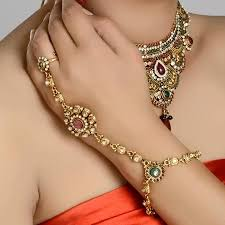 bracelet with ring gold images Gold plated polki ring bracelet has indian traditional design it jpg