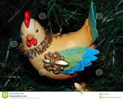 three hens ornament on a tree stock photo image 48148954