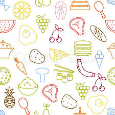 seamless pattern food thin line icons seamless pattern food vegetables and fruits icon