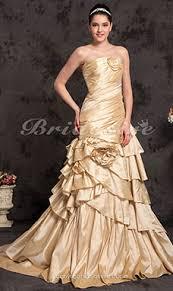 a linie herzausschnitt sweep pinsel zug taft brautkleid mit perlen verziert p90 bridesire chagner brautkleider 2017