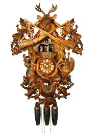 carved 8 day hunting style cuckoo clock with music 61cm by august