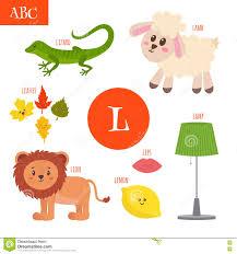 letter l cartoon alphabet for children lion lamb lamp leave