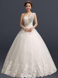 one shoulder wedding dresses one shoulder gown appliques wedding dress tbdress