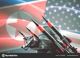 Mass Flag Nuclear Weapon With North Korea And Usa Flag U2014 Stock Photo