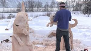 siberian husky bench carved by jordan anderson youtube