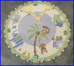 pottery barn kids jungle friends round 5x5 rug