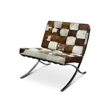 replica barcelona chair in cow hide brown and white 1299