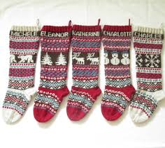 for 2018 personalized knitted christmas stockings set of 5