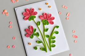 how to make greeting card quilling flowers step by step