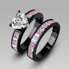 black and pink wedding ring sets choucong engagement pink sapphrie 5a zircon 10kt black gold
