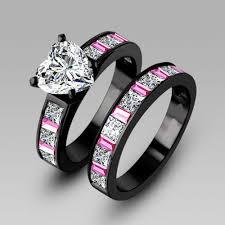 choucong engagement pink sapphrie 5a zircon 10kt black gold