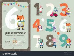 Invitation Cards For Birthday Party Template Birthday Anniversary Numbers Cute Animals Birthday Stock Vector