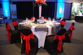 modern black red silver white centerpieces chairs indoor reception