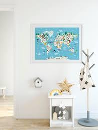Poster Kinderzimmer Tier Weltkarte Drucken Kinder Weltkarte Poster