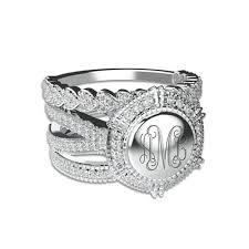 monogram rings sterling silver engraved stackable monogram ring sterling silver