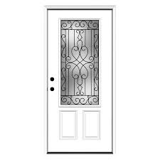 Fiberglass Exterior Doors Lowes by Shop Reliabilt Wyngate Decorative Glass Right Hand Inswing Primed