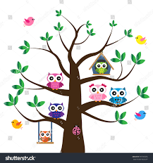 vector set colorful owls tree stock vector 555783976 shutterstock