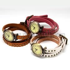 bracelet leather watches images Wholesale retro vintage leather wrap bracelet watches quartz JPG