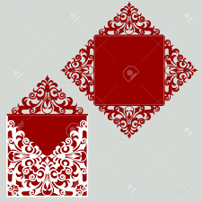 square laser cut wedding invitation template card for die cutting