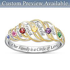 family birthstone rings our family is a circle of sterling silver personalized