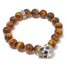 skull bracelet charm images King baby jewelry sterling silver tiger 39 s eye quartz bead skull jpg
