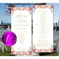 Tea Length Wedding Program Rose Gold Wedding Menu Card Digital Printable Rose Gold Restaurant