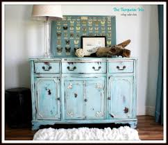 the turquoise iris vintage modern hand painted furniture teal