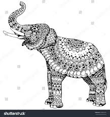 stylized elephant indian elephant animal ornamental stock vector