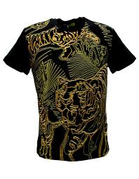 versace jeans gold tiger print crew neck short sleeve tshirt