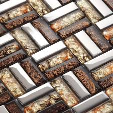 Wholesale Strip Glass Mosaic Tile Pattern Silver Stainless Steel - Glass and metal tile backsplash