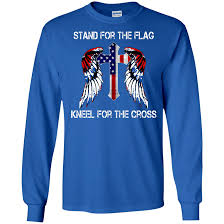 Blue And White Flag Cross Stand For The Flag Kneel For The Cross Shirt Hoodie Tank Ifrogtees