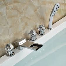 pull out bathtub faucet athenian crystal handle chrome finish waterfall bathtub faucet with