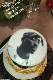 zendaya celebrates her 21st birthday with a tupac cake daily