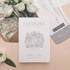 around the world passport wedding invitation by ditsy chic