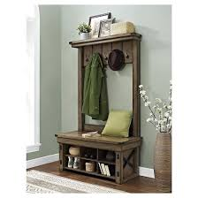 wildwood rustic entryway hall tree with bench altra target