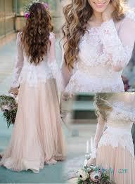 h1377 unique white lace colored vintage wedding dress